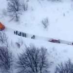 An aerial photo shows the rescuers heading to Hotel Rigopiano in Farindola, central Italy, hit by an avalanche, in this January 19, 2017 handout picture provided by Italy's Firefighters. Vigili del Fuoco/Handout via REUTERS   ATTENTION EDITORS - THIS IMAGE WAS PROVIDED BY A THIRD PARTY. EDITORIAL USE ONLY. - RTSW8EZ